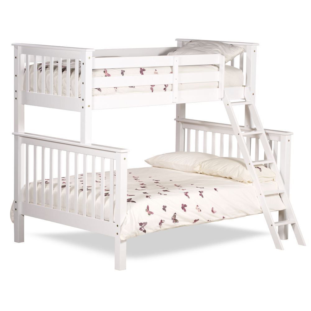 Happy Beds Chiltern White Wooden Triple Sleeper Bunk Bed 3ft