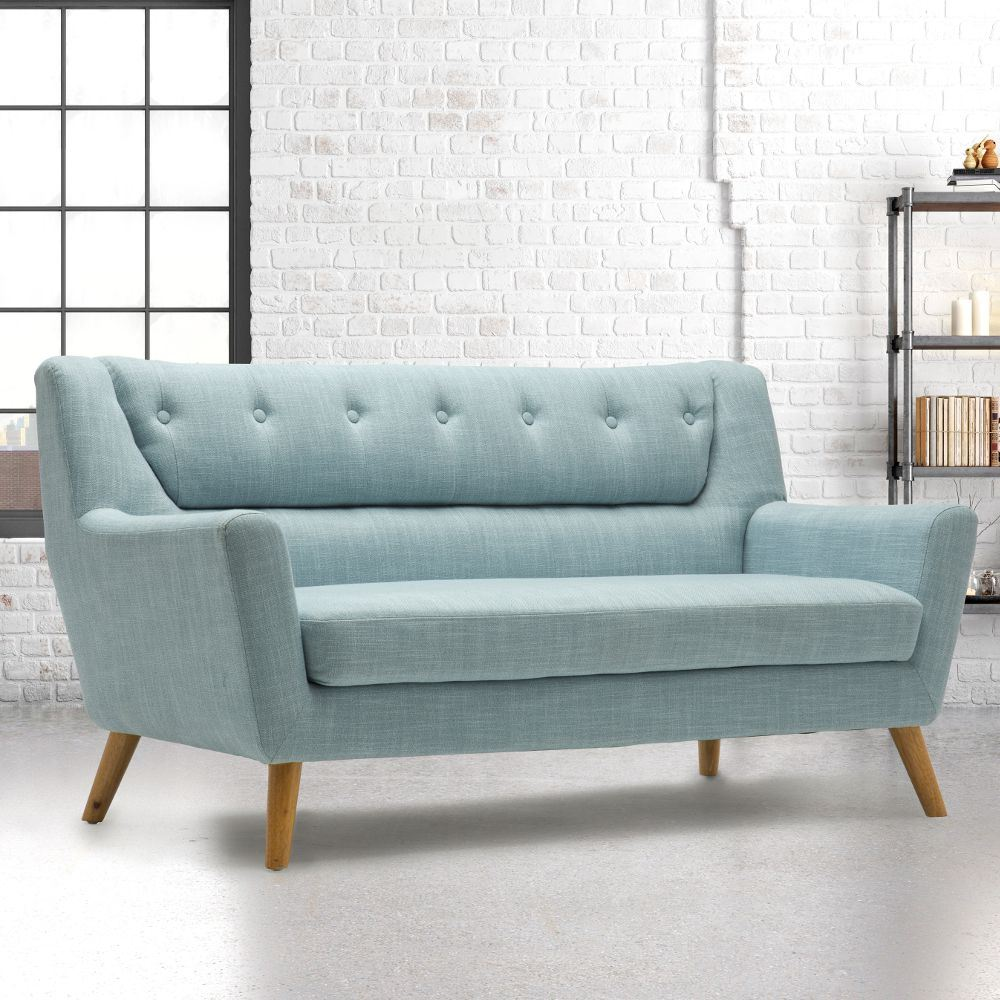 Lambeth Fabric Upholstered Sofa In Duck Egg Blue Or Grey Large Three