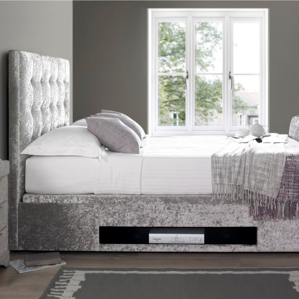 Barnard Silver Crushed Velvet Fabric TV Bed 3 Size Options - Holds ...