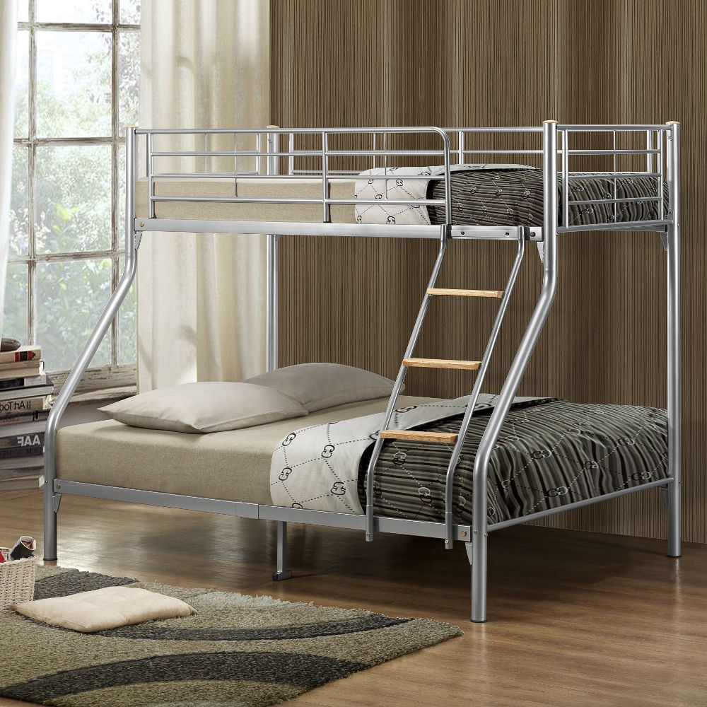 Nexus Silver Metal Triple Sleeper Bunk Bed 4ft6 Double With 4