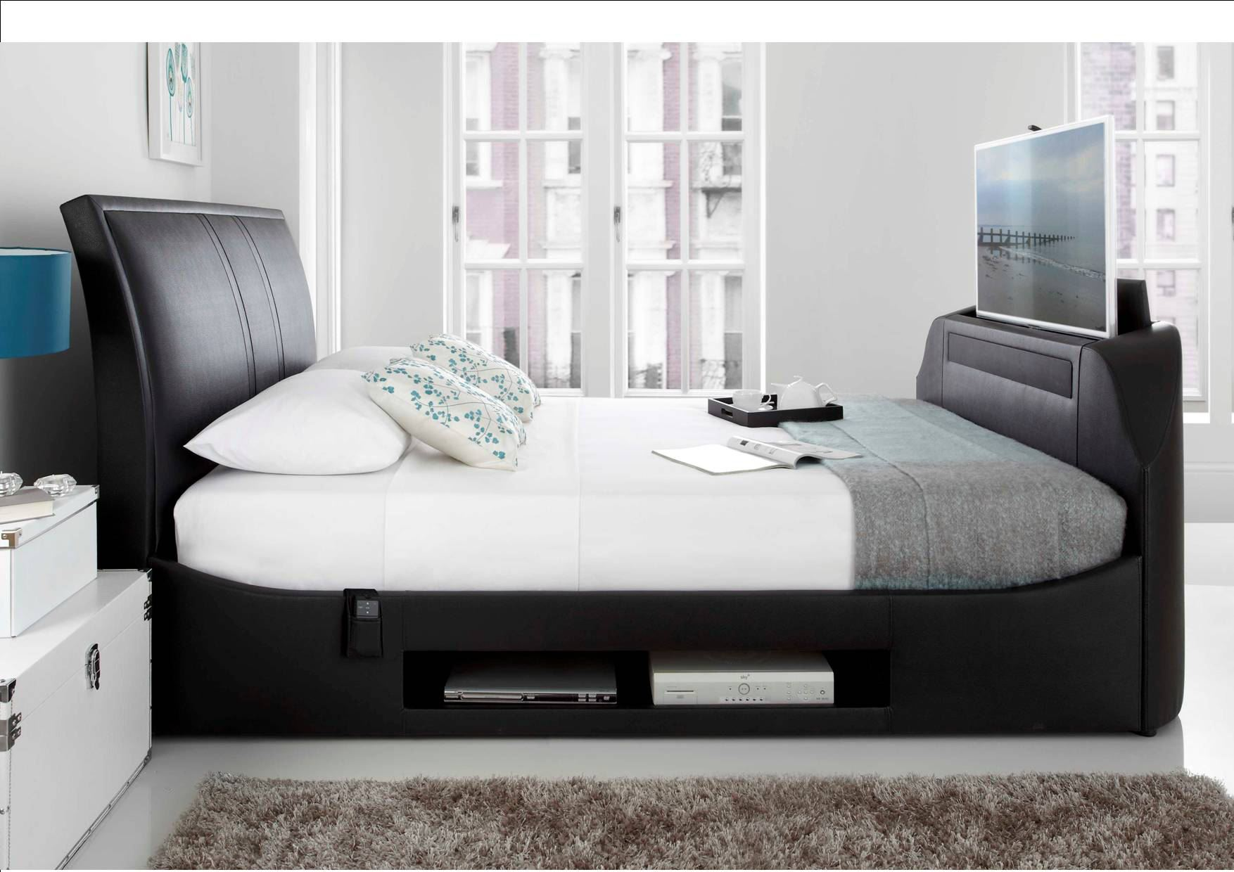 Happy beds maximus black leather tv bed with sound bar frame picture 4 of 4 jeuxipadfo Images