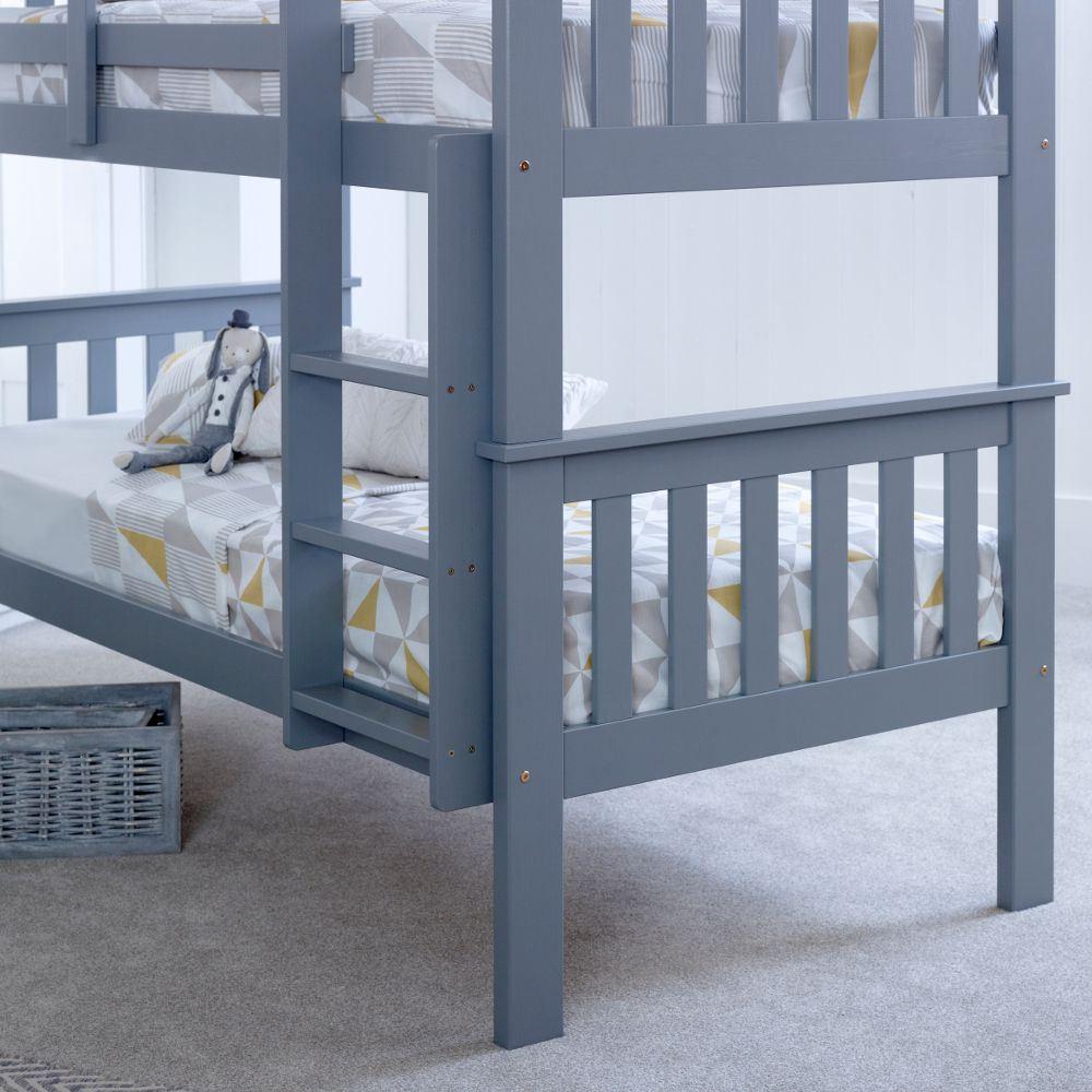 Happy Beds Atlantis Bunk Bed Grey Wooden Kids Mattress Bedroom