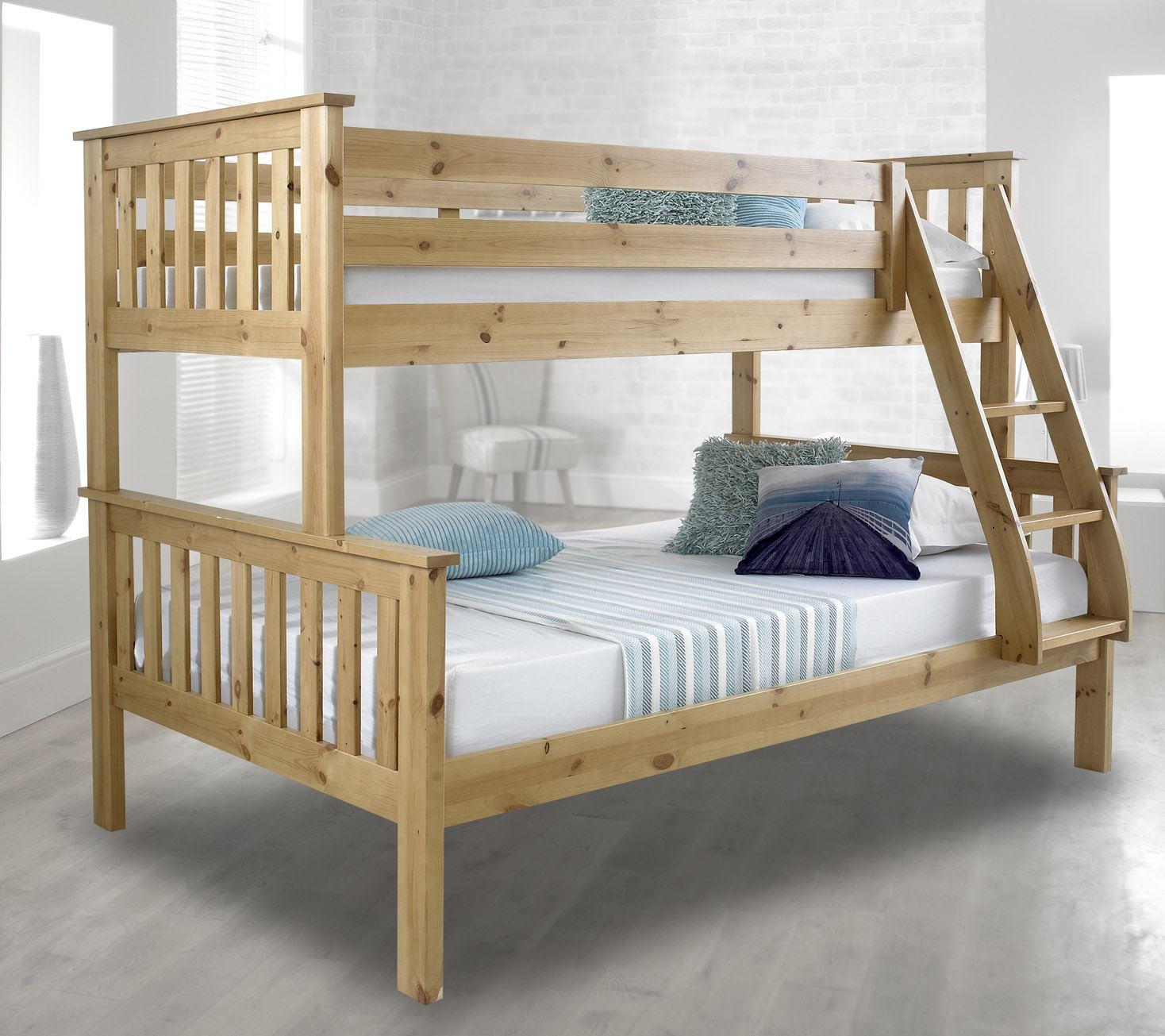 happy beds atlantis solid wood triple sleeper bunk bed 3ft 4ft 2x mattress ebay. Black Bedroom Furniture Sets. Home Design Ideas