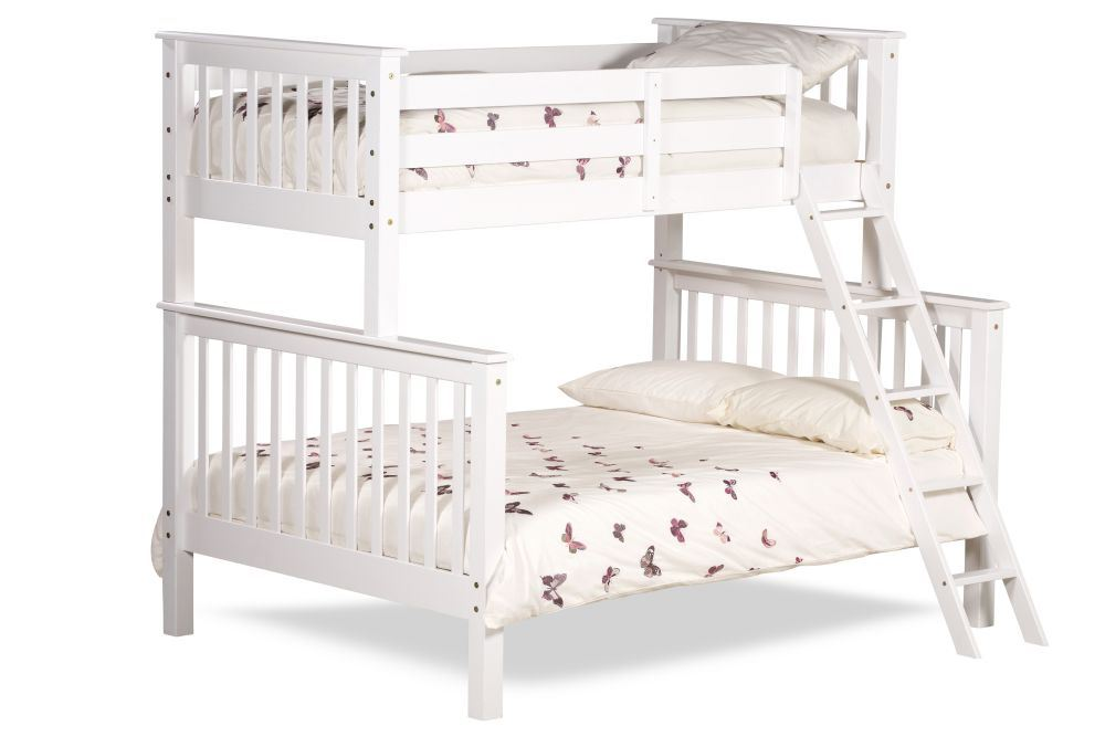 Chiltern White Wood Triple Sleeper Bunk Bed 4ft6 Double With 4