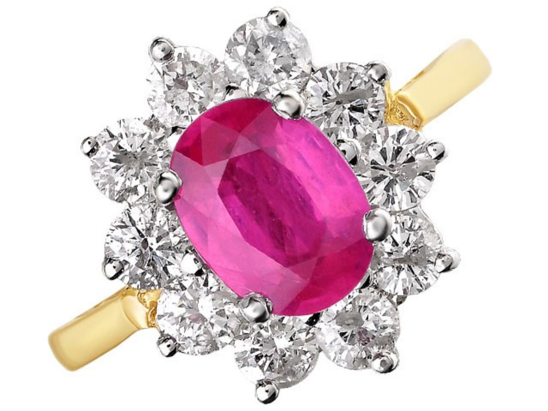 F.Hinds Womens Jewellery 9ct Gold 1.2 Carat Ruby And 1 Ct Diamond ...