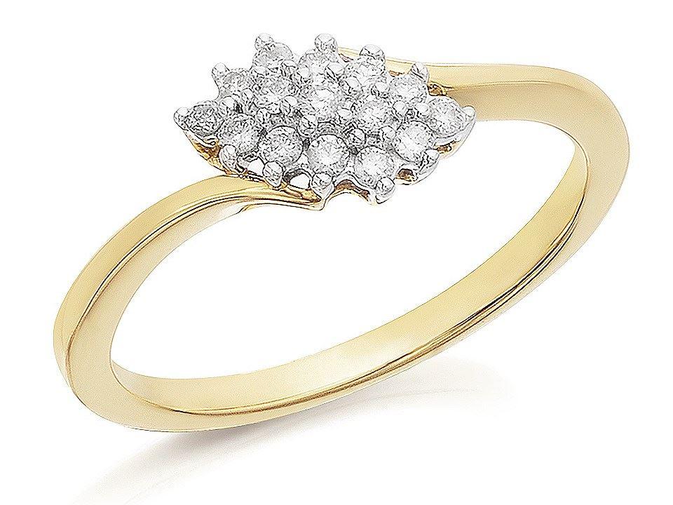 Kareco 9ct Yellow Gold 15Pts Diamond Cluster Ring 7qQAYpLj