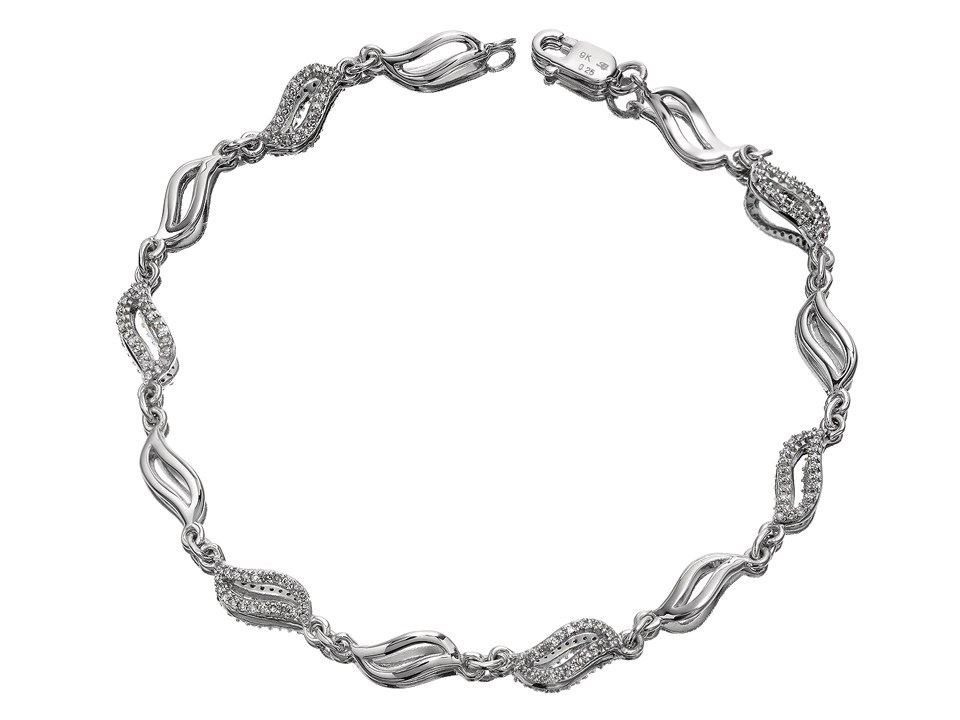 F Hinds Womens Jewellery 9ct White Gold Diamond Wavy Link Bracelet