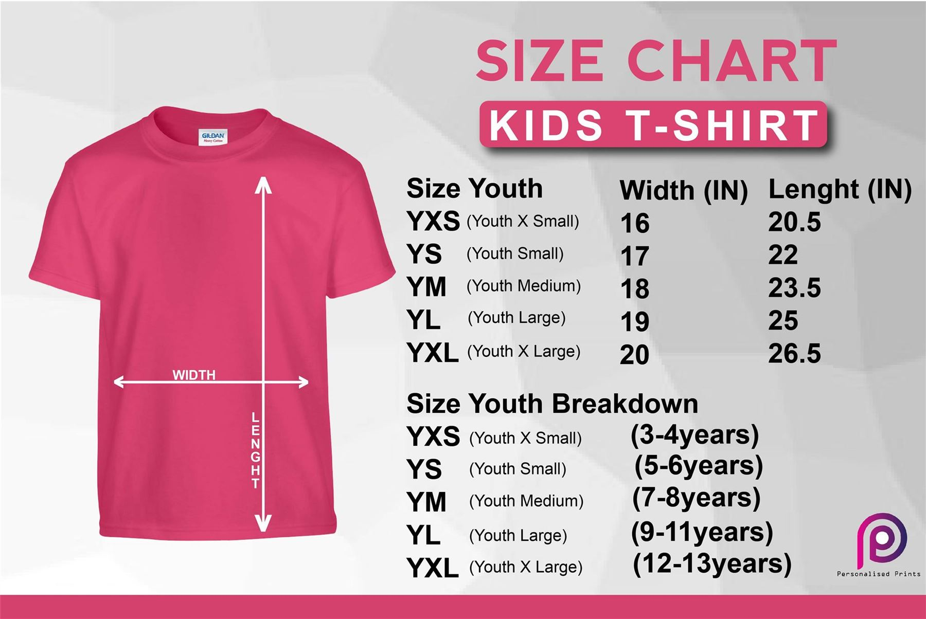 Youth Small Size Chart Shirt   Polo T