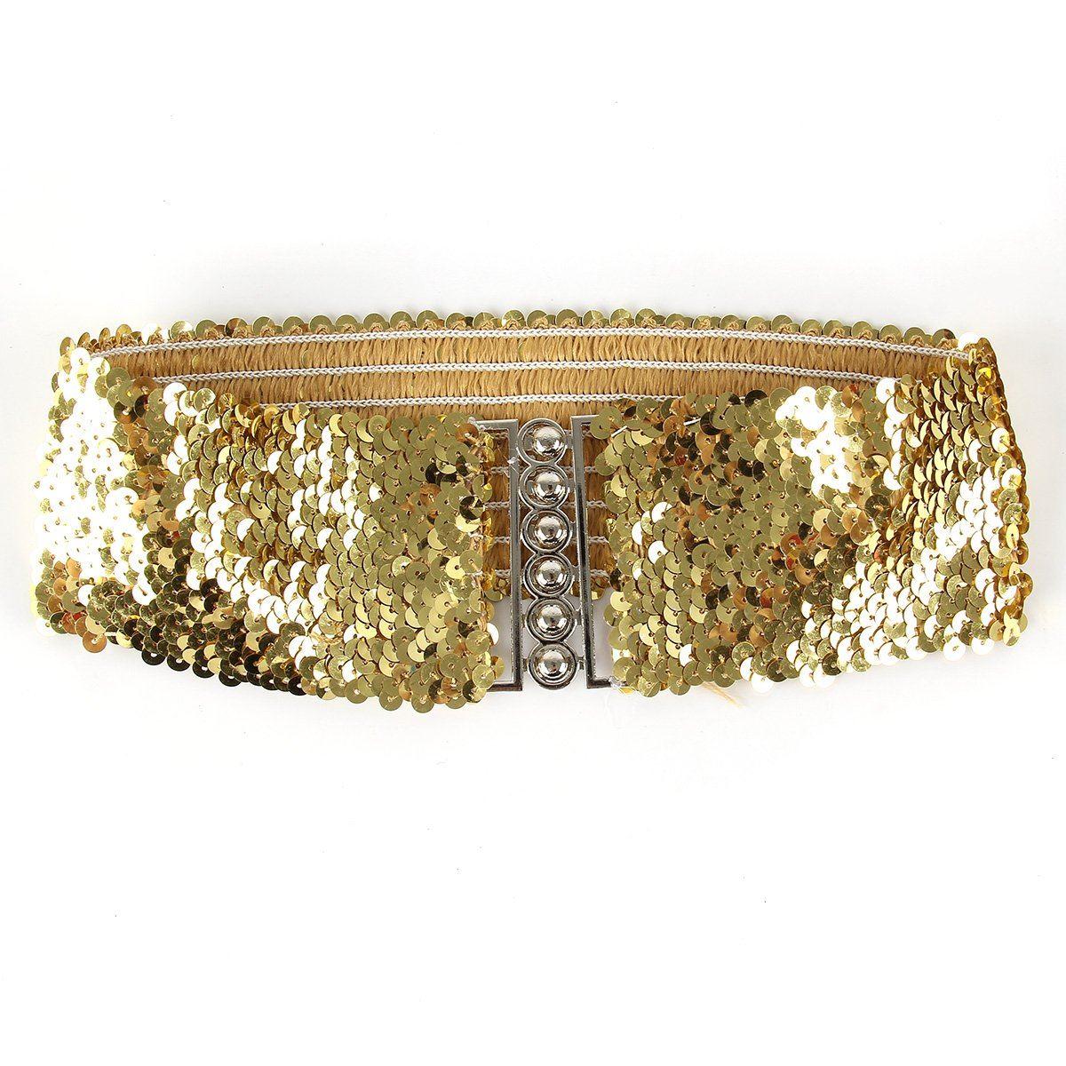 elastic sequin black gold or silver belt waistband