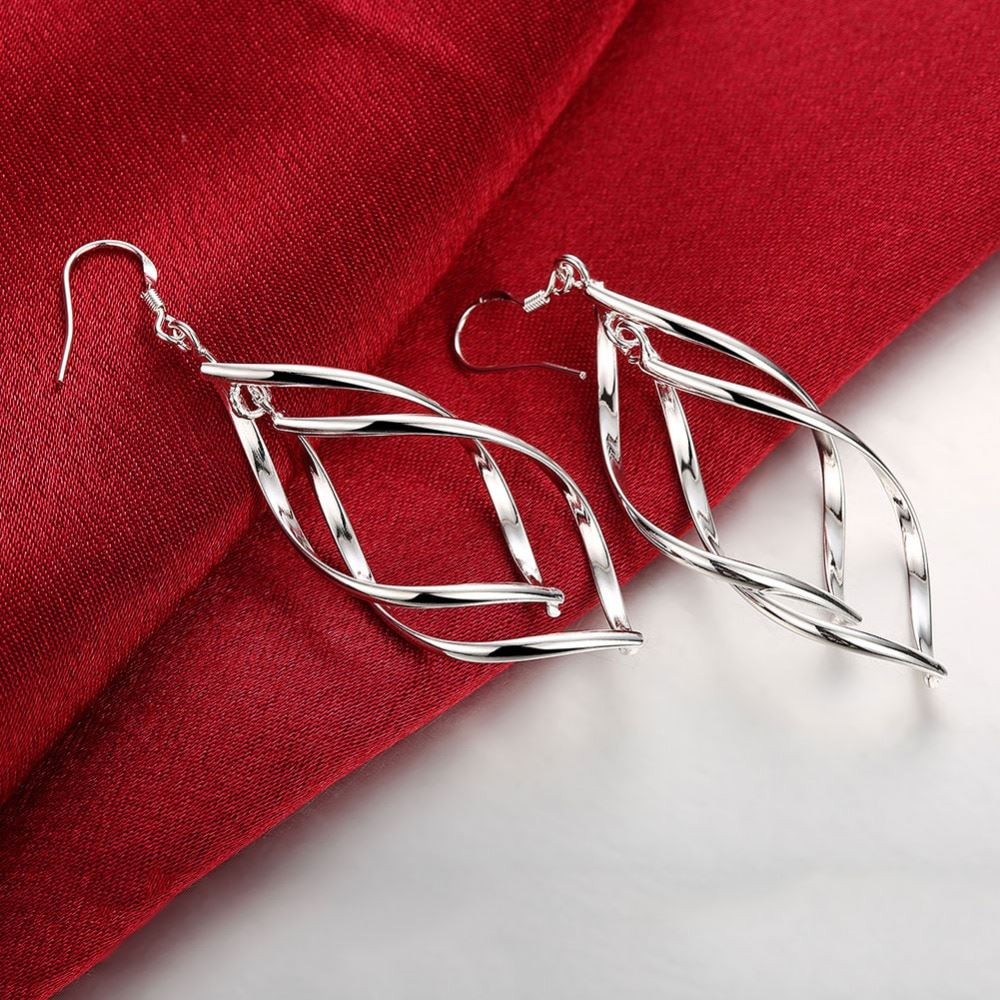 UK-Shop-925-SILVER-Plt-Grande-Goccia-Dangle-Earrings-Hoop-Gancio-Donna-Regalo miniatura 43