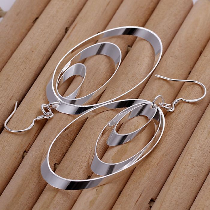 UK-Shop-925-SILVER-Plt-Grande-Goccia-Dangle-Earrings-Hoop-Gancio-Donna-Regalo miniatura 28