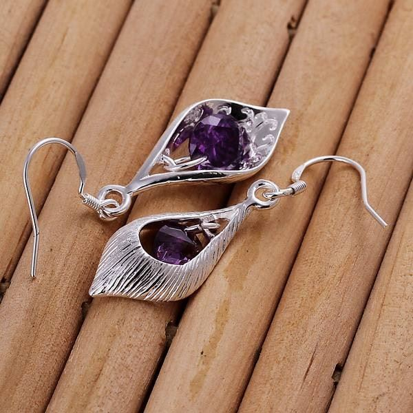 UK-Shop-925-SILVER-Plt-Grande-Goccia-Dangle-Earrings-Hoop-Gancio-Donna-Regalo miniatura 37