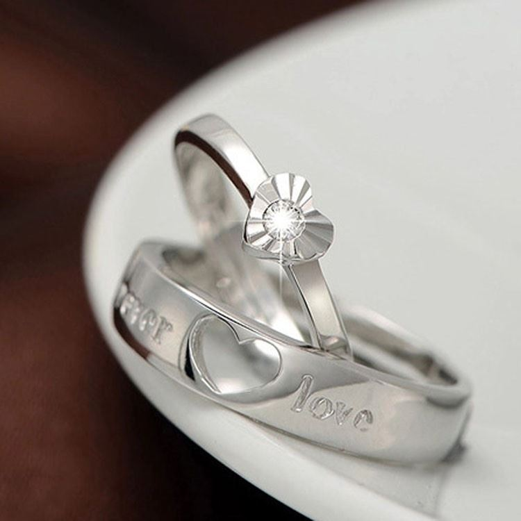 925-Plata-Corazon-034-Forever-Love-PLT-Ajustable-Anillo-Con-Cristal-034-su-ella-una miniatura 9