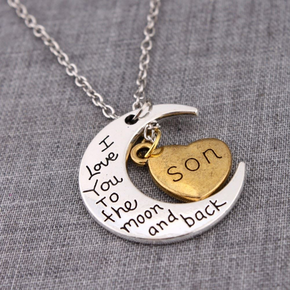 UK-Shop-Silver-039-I-LOVE-YOU-TO-THE-MOON-AND-BACK-039-Engraved-Pendant-Necklace-Mum thumbnail 27