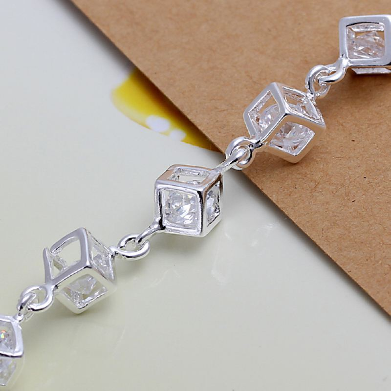 UK-Shop-925-Argento-Bracciale-catena-PLT-Braccialetto-Cavigliera-collegamento-solido-Bracciale-Charm miniatura 16