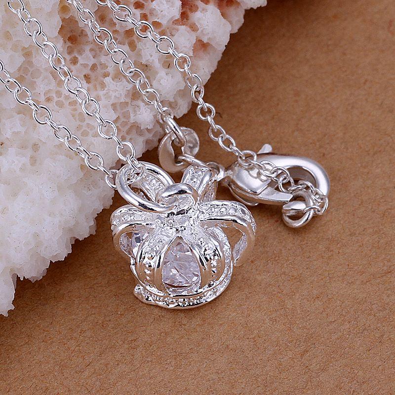 Reino-Unido-925-de-Plata-Colgante-Collar-18-034-pulgadas-cadena-Plt-Senoras-Para-Mujer-Regalo-larga miniatura 33