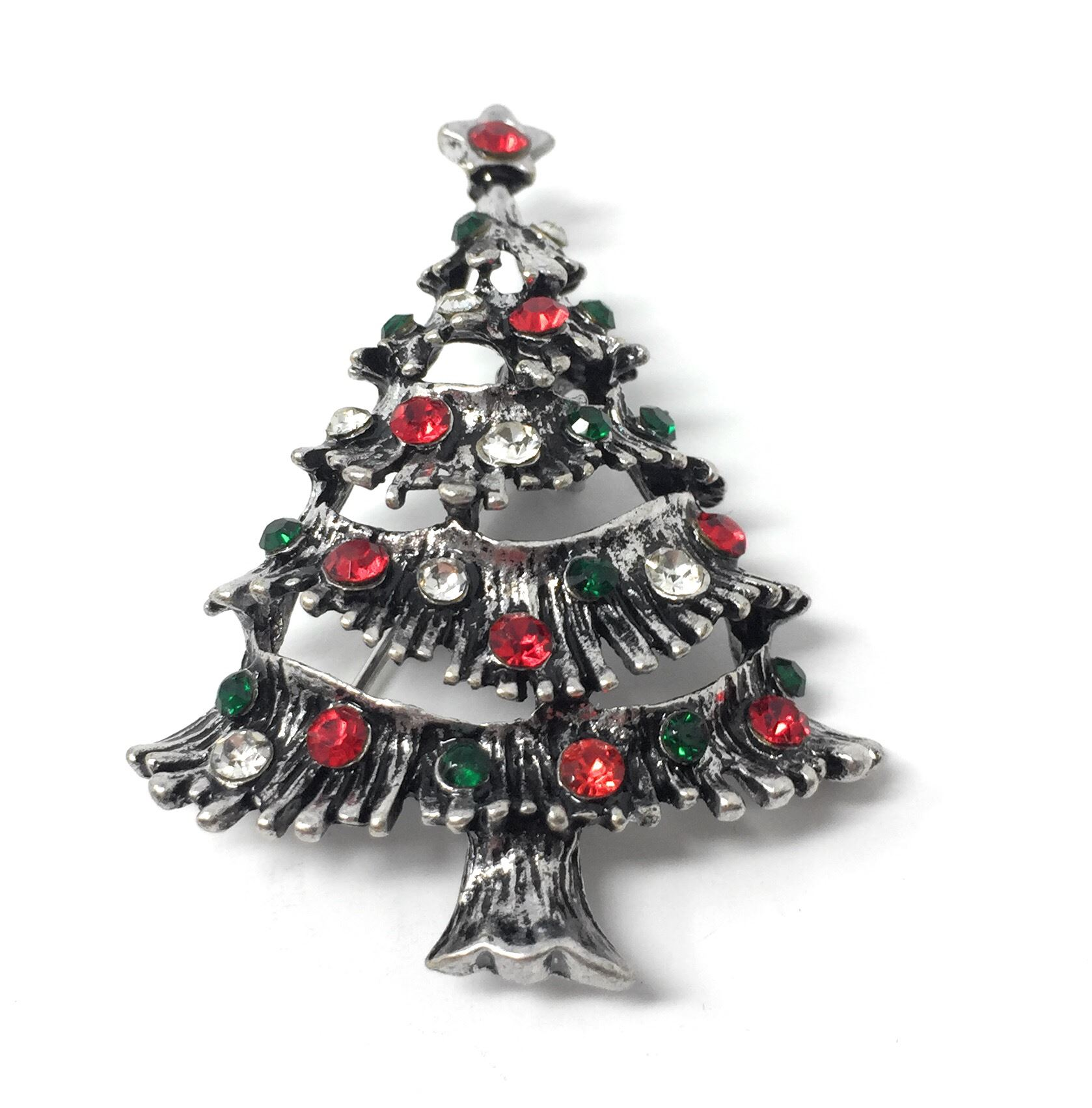 Uk Shop Silver Christmas Tree With Red Green White Crystal Baubles Brooch Ebay