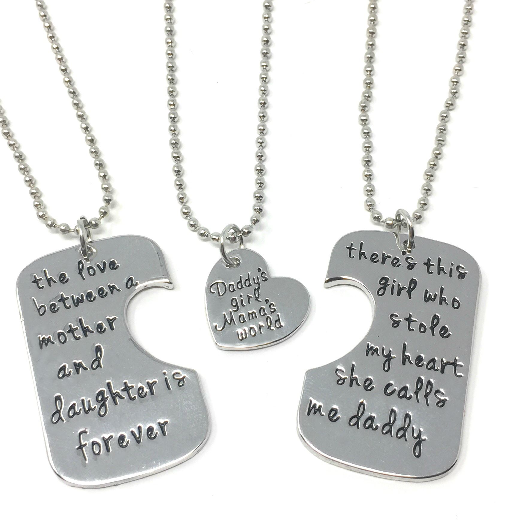 UK-Shop-925-SILVER-PLT-039-DADDY-039-S-GIRL-MAMA-039-S-WORLD-039-STOLE-MY-HEART-LOVE-FOREVER thumbnail 6