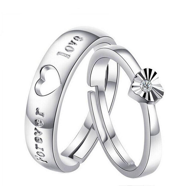 925-Plata-Corazon-034-Forever-Love-PLT-Ajustable-Anillo-Con-Cristal-034-su-ella-una miniatura 6