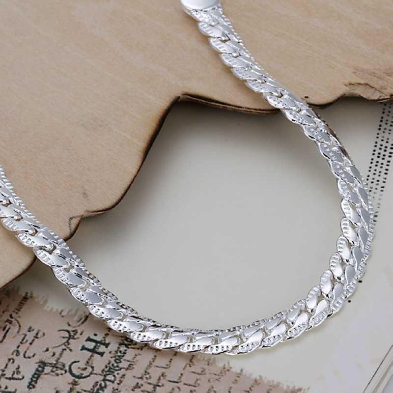UK-Shop-925-Argento-Bracciale-catena-PLT-Braccialetto-Cavigliera-collegamento-solido-Bracciale-Charm miniatura 33