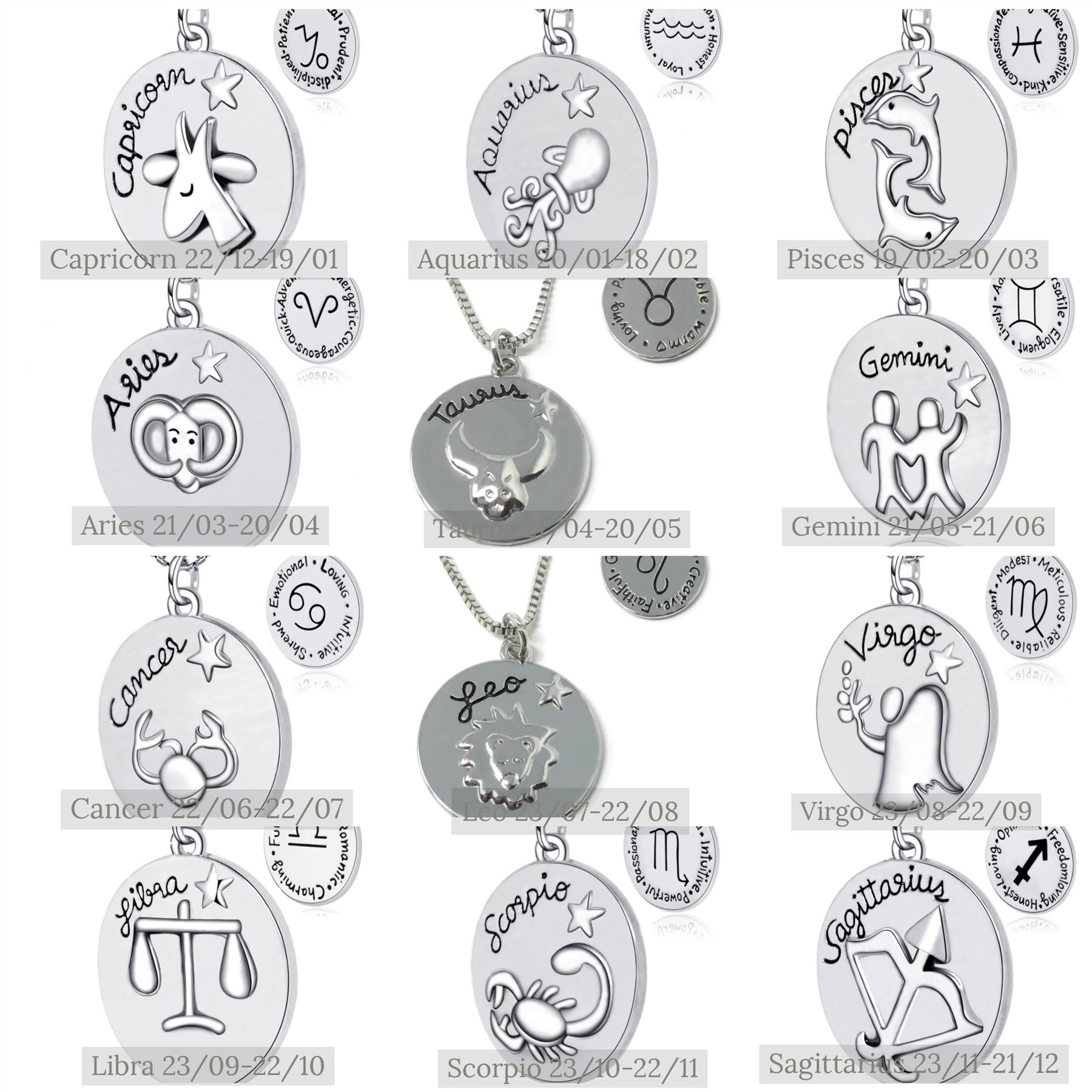925 Silver Plt Reversible Zodiac Star Sign Necklace Romantic Fun Horoscope 12 C
