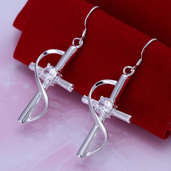 UK-Shop-925-SILVER-Plt-Grande-Goccia-Dangle-Earrings-Hoop-Gancio-Donna-Regalo miniatura 7