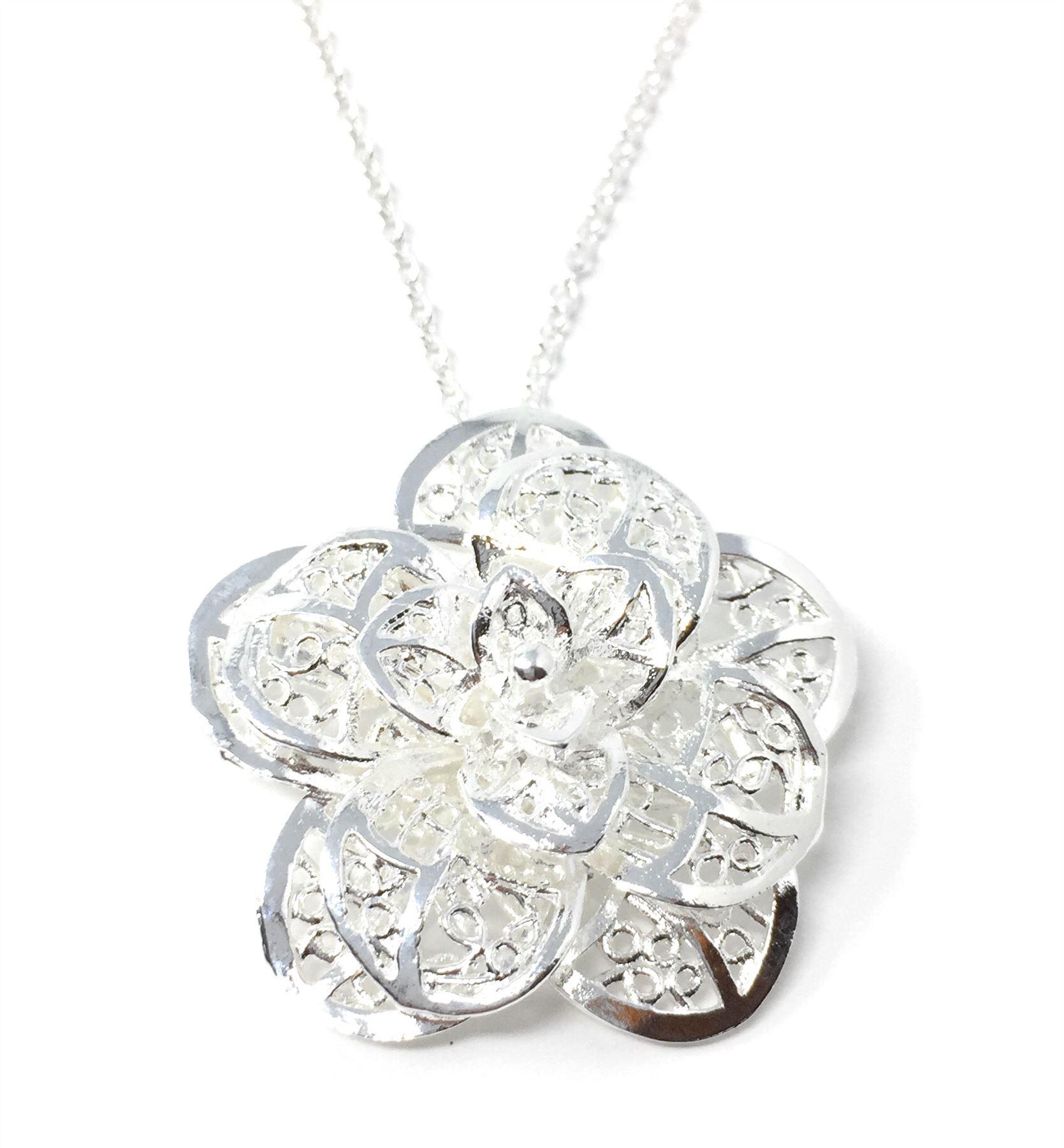 Reino-Unido-925-de-Plata-Colgante-Collar-18-034-pulgadas-cadena-Plt-Senoras-Para-Mujer-Regalo-larga miniatura 11