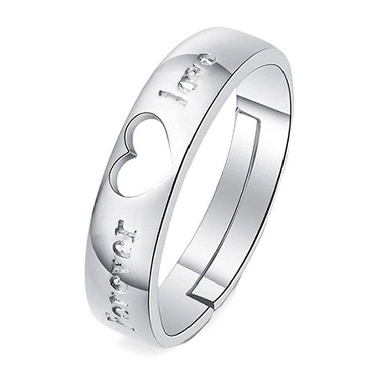 925-Plata-Corazon-034-Forever-Love-PLT-Ajustable-Anillo-Con-Cristal-034-su-ella-una miniatura 7