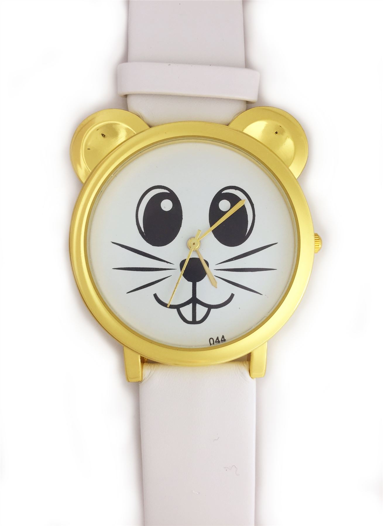 Cute-Mouse-Face-Wrist-Watch-With-Gold-Ears-And-Coloured-Strap-Hamster-Rat-D