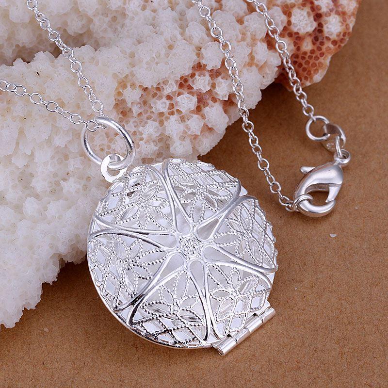 * UK shop 925 Plata PLT abierto VICTORIANO ESTAMPADO Oval Foto Collar Locket