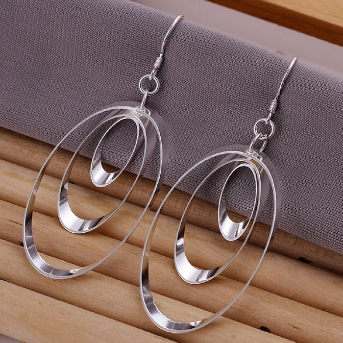 UK-Shop-925-SILVER-Plt-Grande-Goccia-Dangle-Earrings-Hoop-Gancio-Donna-Regalo miniatura 29
