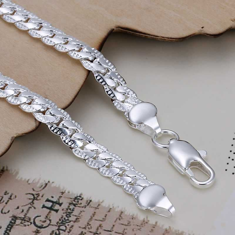 UK-Shop-925-Argento-Bracciale-catena-PLT-Braccialetto-Cavigliera-collegamento-solido-Bracciale-Charm miniatura 34