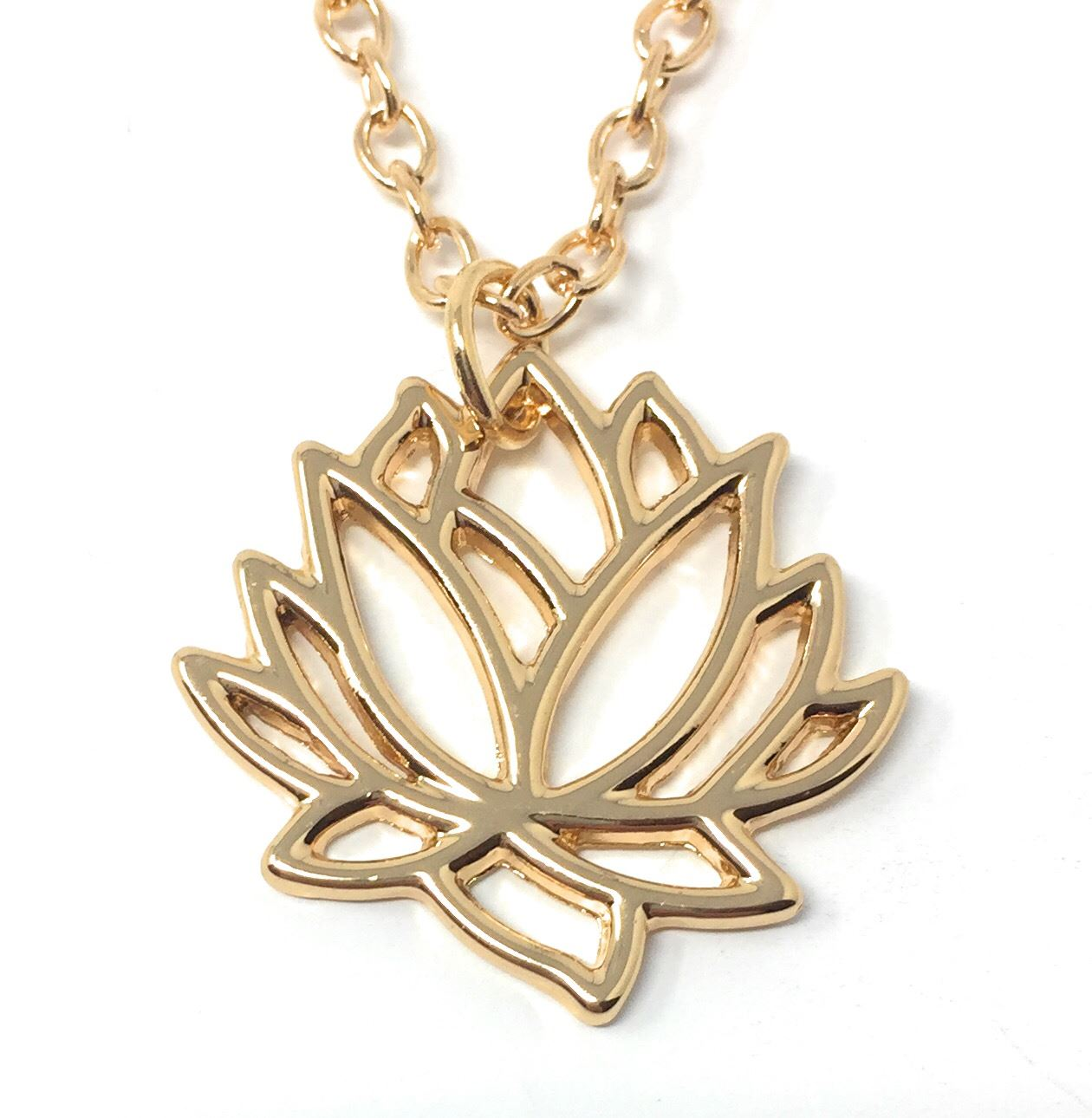 Gold plt lotus flower pendant necklace hollow leaf water namaste cadoline has been established since 2002 and over the years we have had thousands of satisfied customers many of which have stayed with us throughout our izmirmasajfo