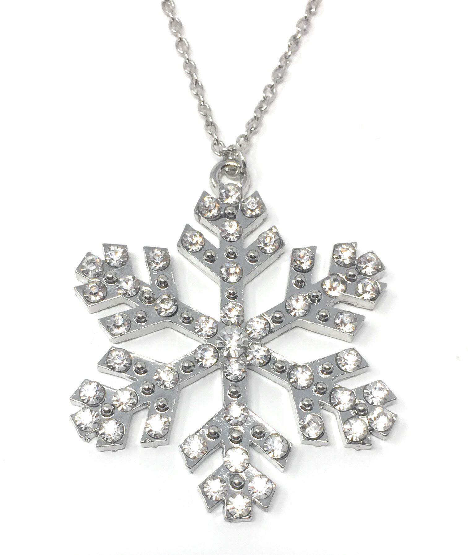 cubic sterling zirconia in white snowflake itm silver pendant with
