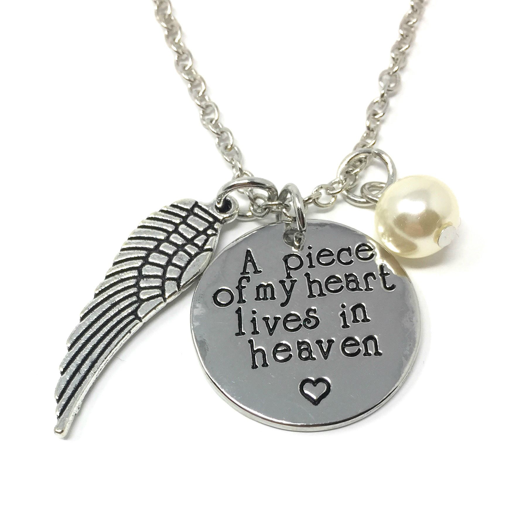 baf9ff8593227 Details about 925 Silver Plt 'A Piece Of My Heart Lives In Heaven' Loss  Engraved Necklace D