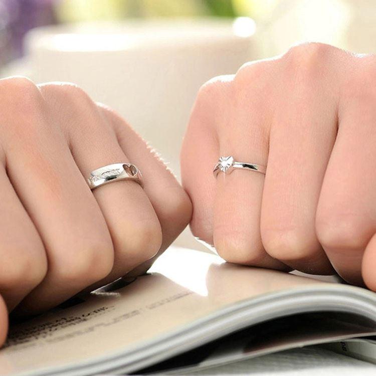 925-Plata-Corazon-034-Forever-Love-PLT-Ajustable-Anillo-Con-Cristal-034-su-ella-una miniatura 4
