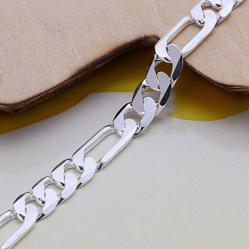UK-Shop-925-Argento-Bracciale-catena-PLT-Braccialetto-Cavigliera-collegamento-solido-Bracciale-Charm miniatura 43