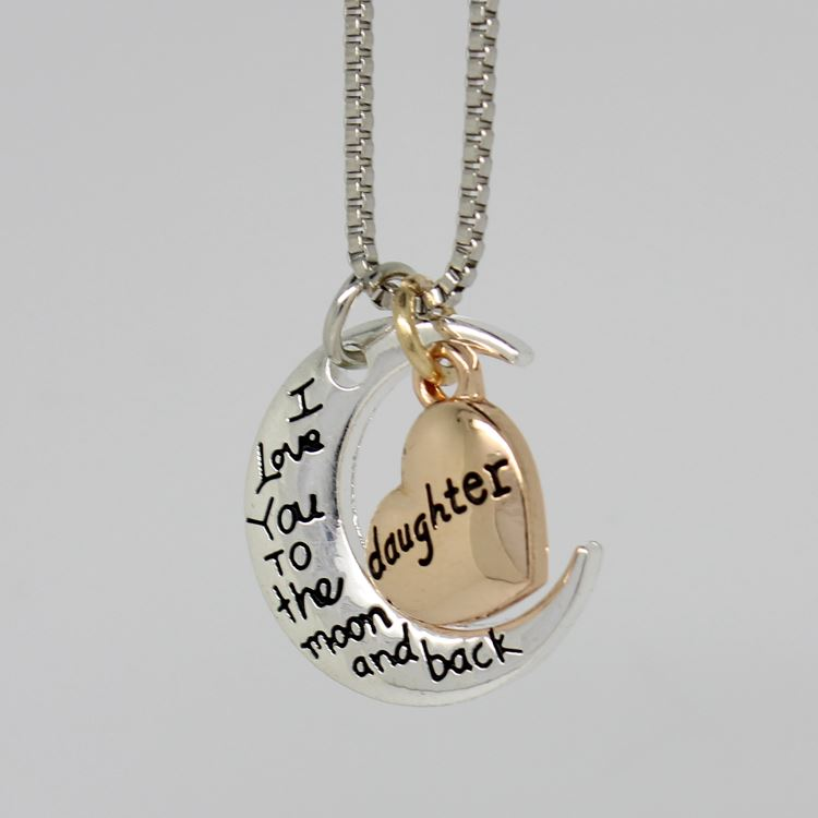 UK-Shop-Silver-039-I-LOVE-YOU-TO-THE-MOON-AND-BACK-039-Engraved-Pendant-Necklace-Mum thumbnail 12