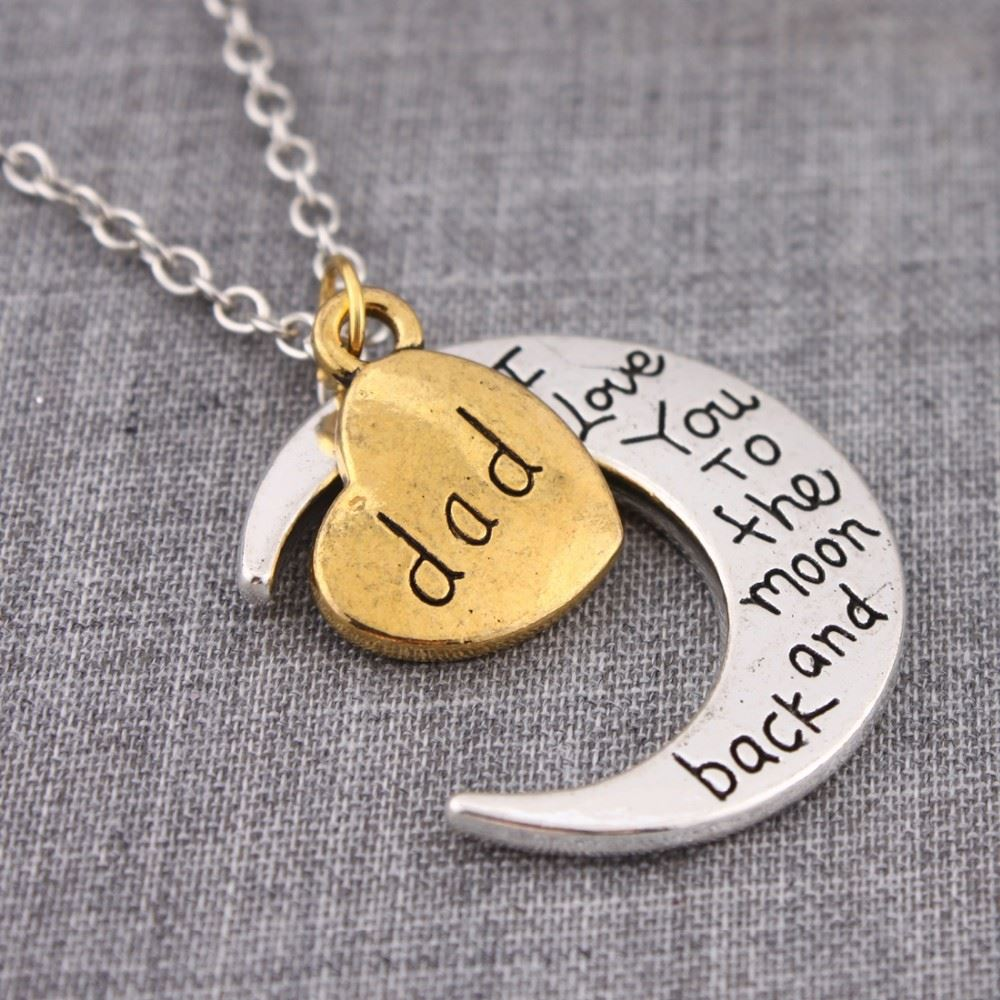 UK-Shop-Silver-039-I-LOVE-YOU-TO-THE-MOON-AND-BACK-039-Engraved-Pendant-Necklace-Mum thumbnail 9