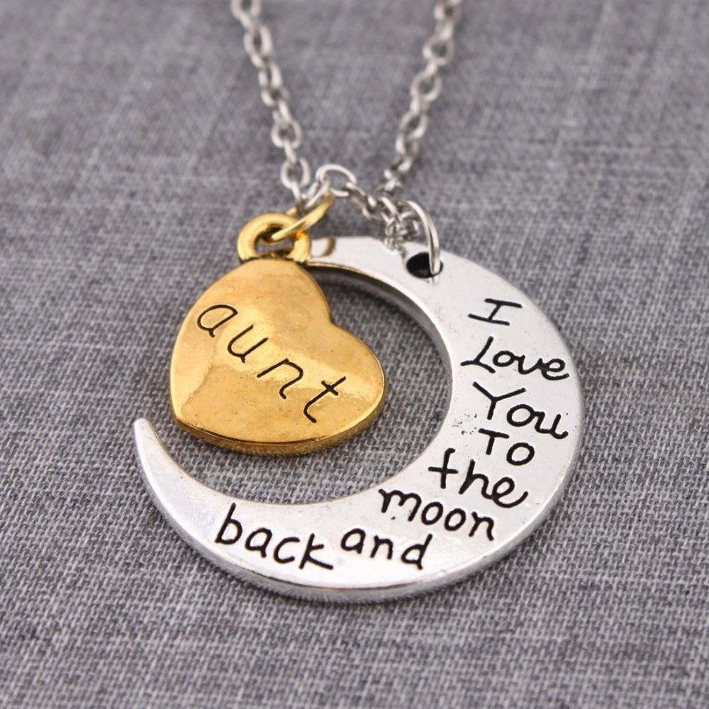 UK-Shop-Silver-039-I-LOVE-YOU-TO-THE-MOON-AND-BACK-039-Engraved-Pendant-Necklace-Mum thumbnail 3
