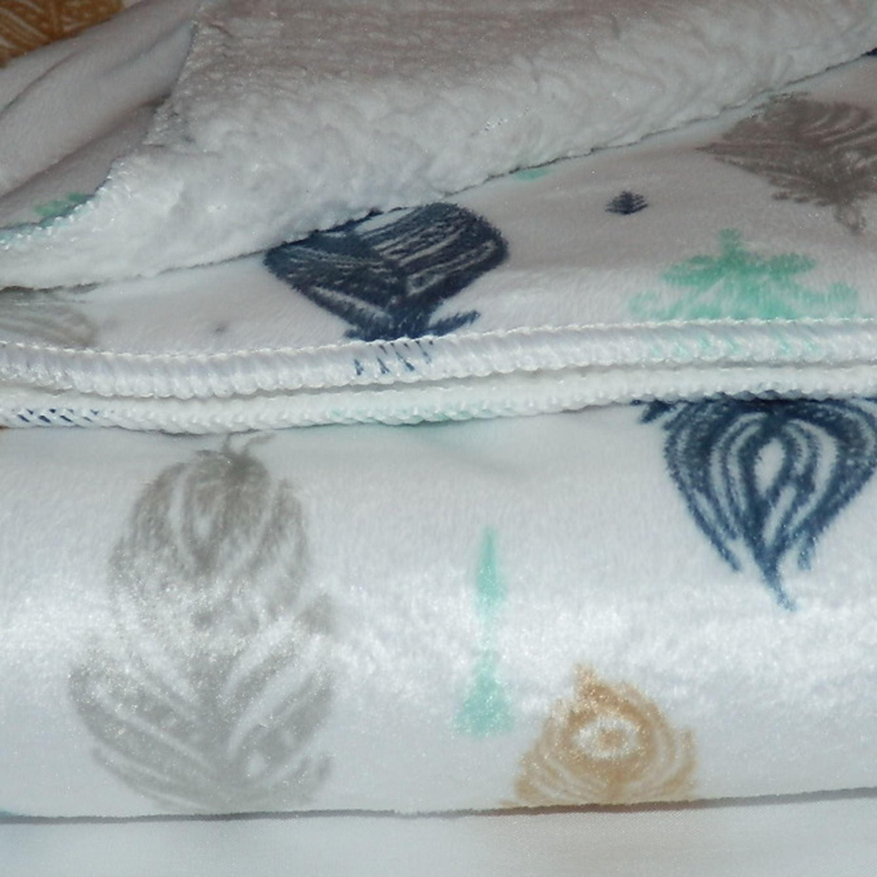 White or Peach Mink Sherpa fleece Baby Blanket 70x100 Cot Crib Moses Pram