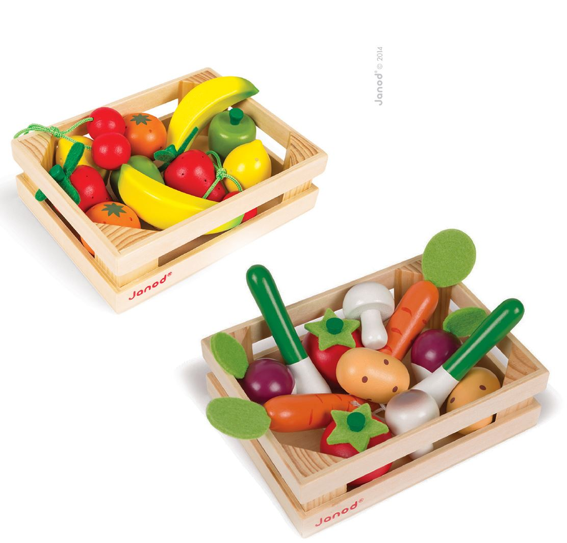 janod wooden play food crate fruit and vegetables 4y ebay. Black Bedroom Furniture Sets. Home Design Ideas