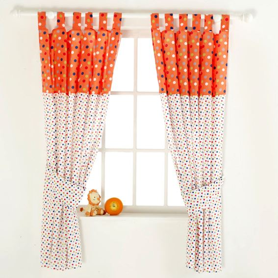Red Kite Tab Top Curtains & Tie Backs Cotton Tails And