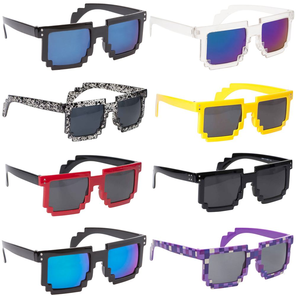 Pixel Sunglasses 8 bit Geek Nerd Pixelated Eye Glasses ...