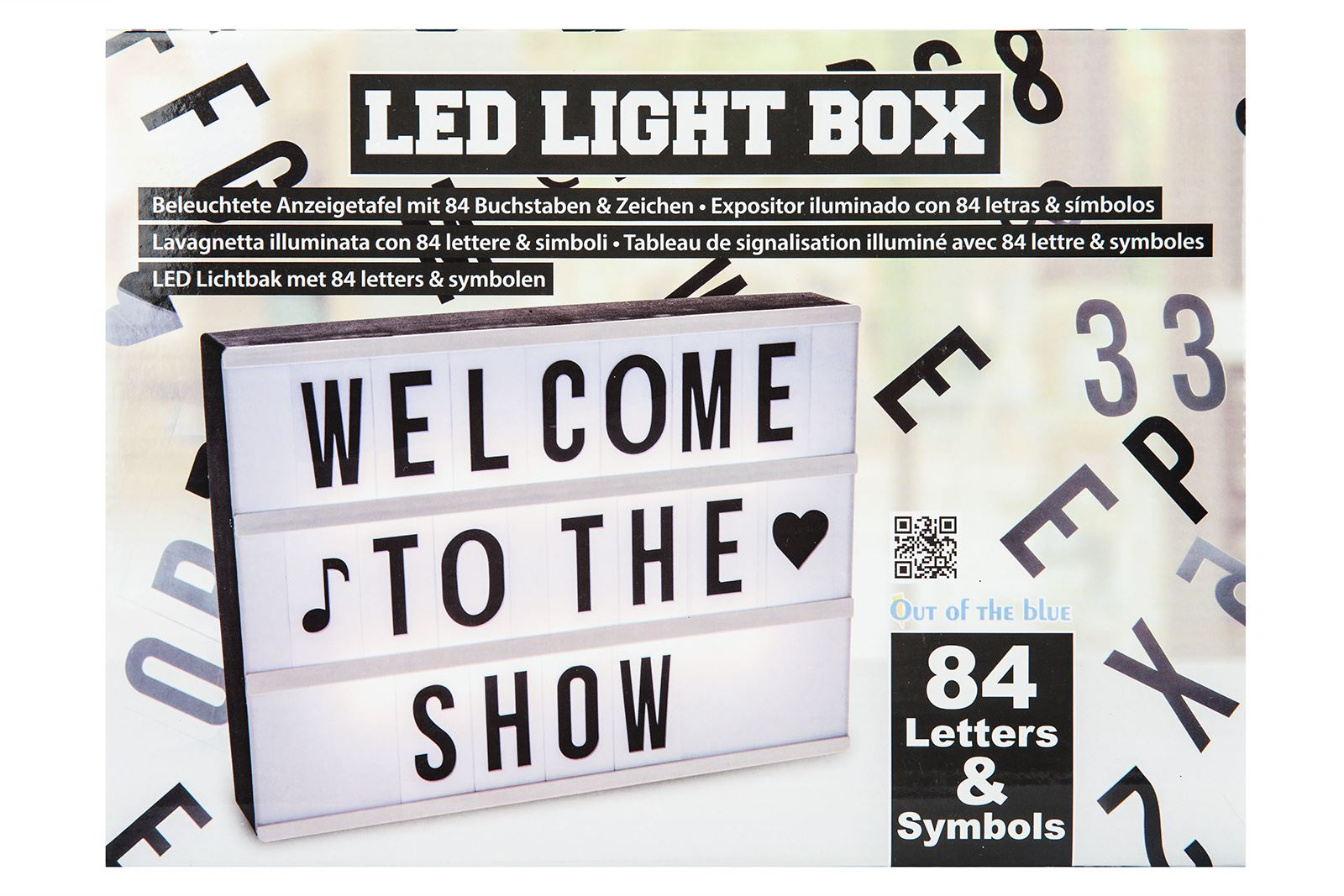 Illuminated led display board 84 letters symbols plastic for Display board lettering