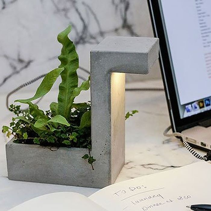 Kikkerland Concrete Planter with USB LED Light Lamp Office Work Desk Organizer