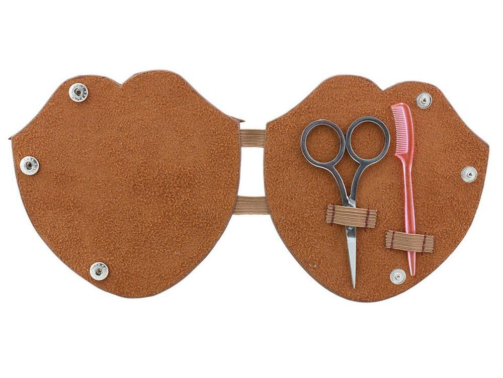 50 fifty beard grooming leather kit pouch with comb scissors ebay. Black Bedroom Furniture Sets. Home Design Ideas