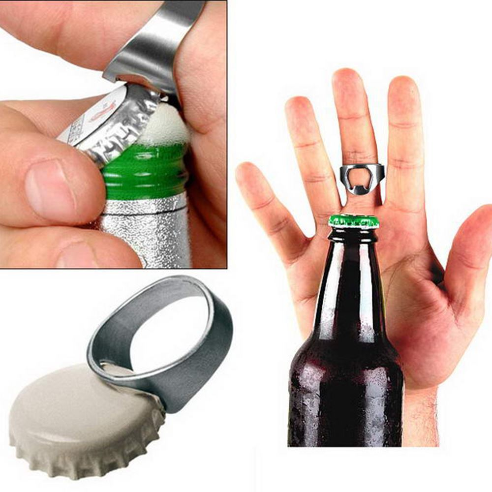 finger ring stainless steel beer bottle opener chrome black gold ebay. Black Bedroom Furniture Sets. Home Design Ideas