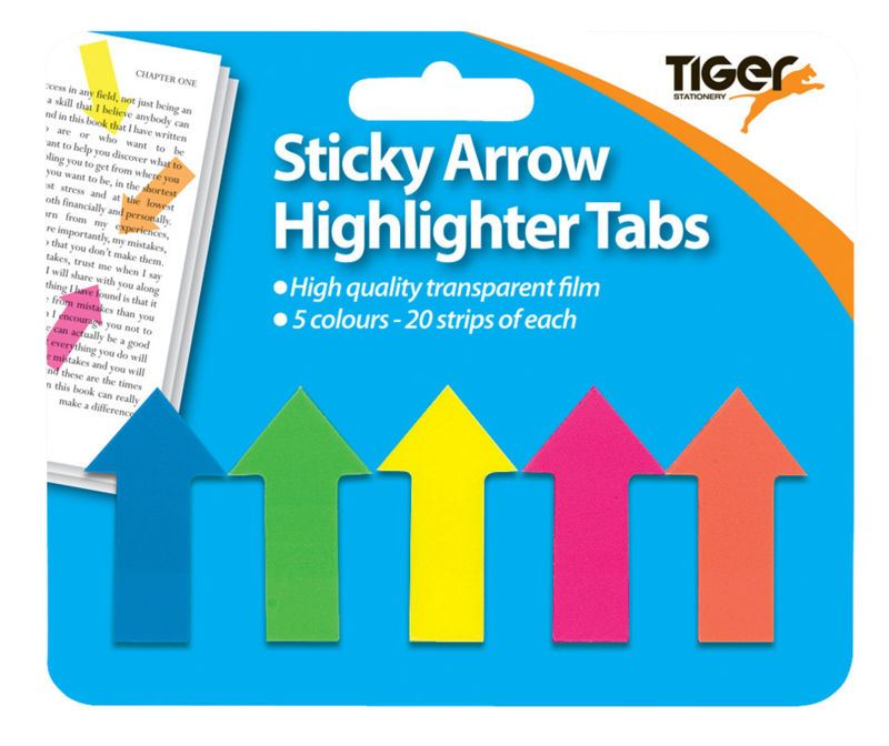 Details about 100 Neon Sticky Arrow Hightlighter Tabs School Office  Stationery Index Flag Note