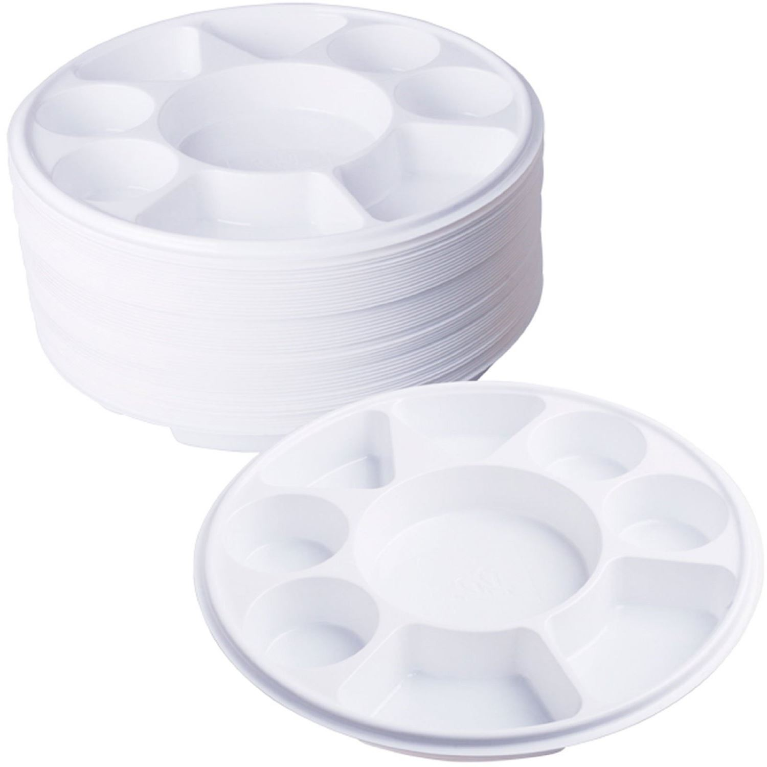 Compartment Plastic Dinner Plates 50 pcs Party Home Food Disposable ...